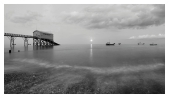 slides/Selsey Bill Mono Moon Rise.jpg full moon,rising,selsey bill, west sussex,coast,water,boats, royal national life boat institution,mono,black and white Selsey Bill Mono Moon Rise