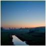 slides/Venus and the Moon.jpg alfriston church sunset sunrise moon venus river cuckmere east sussex dark water reflection orange blue sky Venus and the Moon